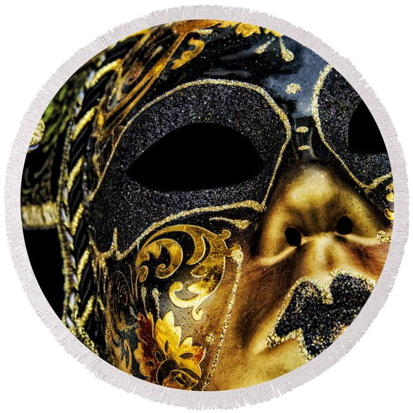 Round Beach Towel featuring the photograph Behind The Mask by Carolyn Marshall