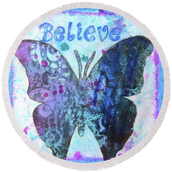 Believe Butterfly Round Beach Towel