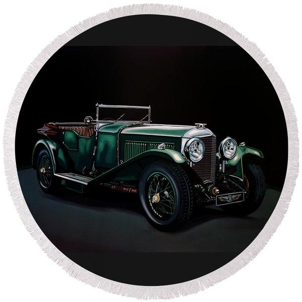 Bentley Open Tourer 1929 Painting Round Beach Towel