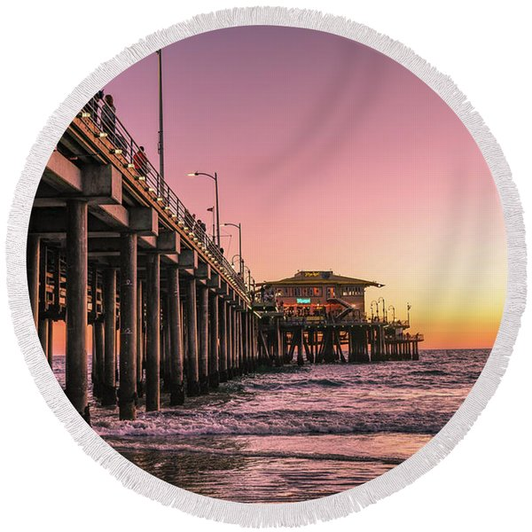 Round Beach Towel featuring the photograph Beside The Pier By Mike-hope by Michael Hope