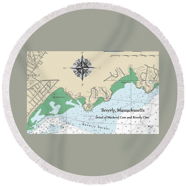 Beverly Cove Nautical Map Round Beach Towel
