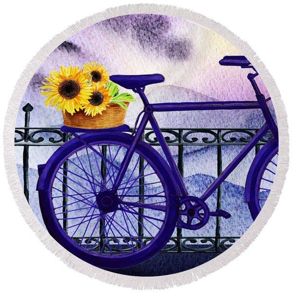 Blue Bicycle And Sunflowers By Irina Sztukowski  Round Beach Towel