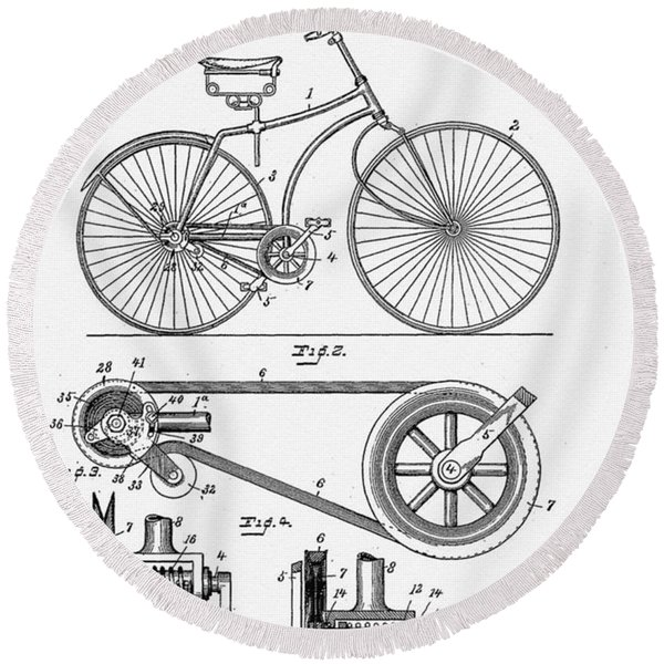 Round Beach Towel featuring the digital art Bicycle Patent 1890 by Bill Cannon