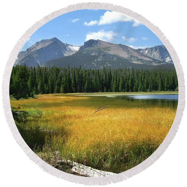Autumn At Bierstadt Lake Round Beach Towel