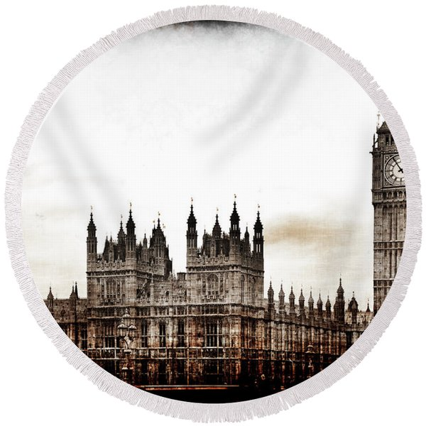 Big Bend And The Palace Of Westminster Round Beach Towel