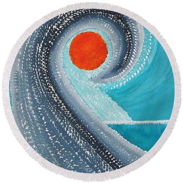Big Kahuna Original Painting Round Beach Towel