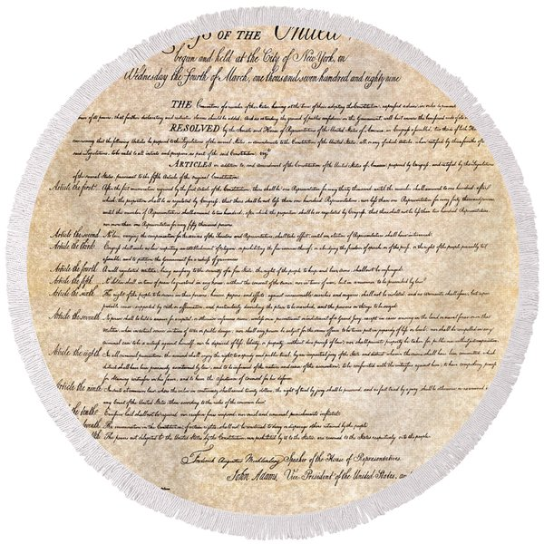 Bill Of Rights Round Beach Towel