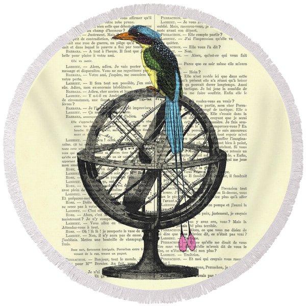 Colorful Bird Of Paradise Sitting On Globe Round Beach Towel