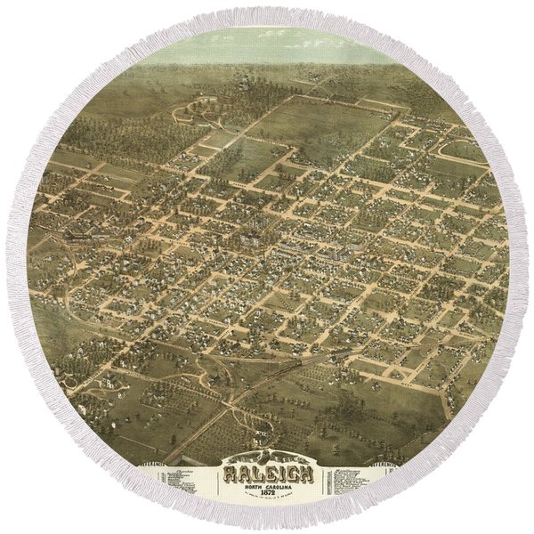 Bird's Eye View Of The City Of Raleigh, North Carolina 1872 Round Beach Towel