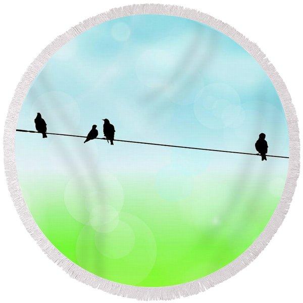 Birds Hanging Around Round Beach Towel
