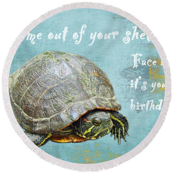 Birthday Card - Painted Turtle Round Beach Towel