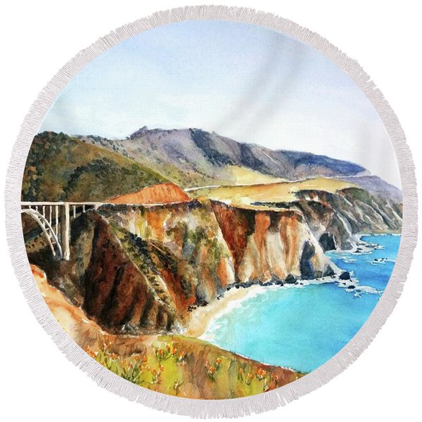 Bixby Bridge Big Sur Coast California Round Beach Towel