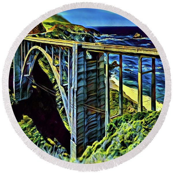 Bixby Creek Bridge - Big Sur Round Beach Towel