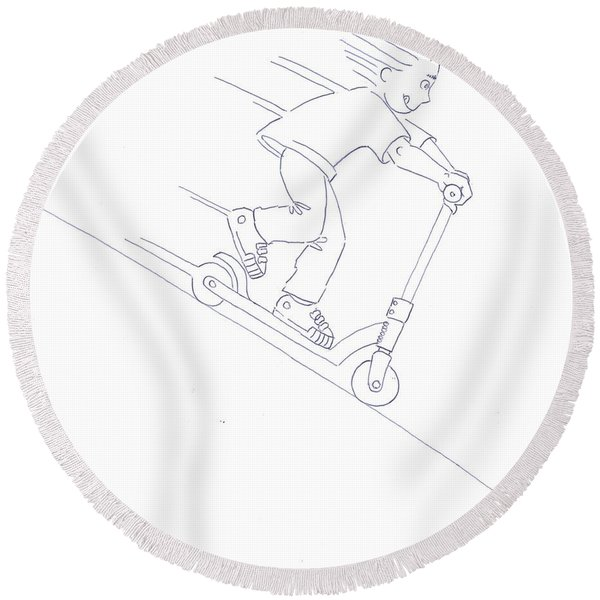 Black And White Micro Scooter Downhill Drawing Round Beach Towel