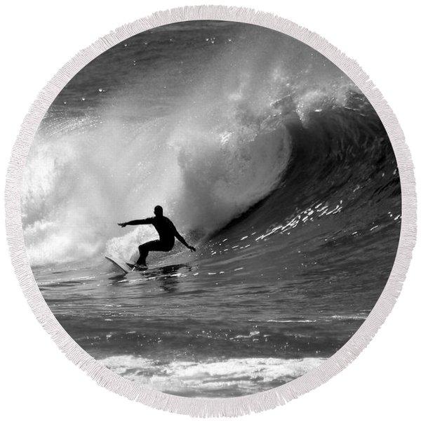 Black And White Surfer Round Beach Towel