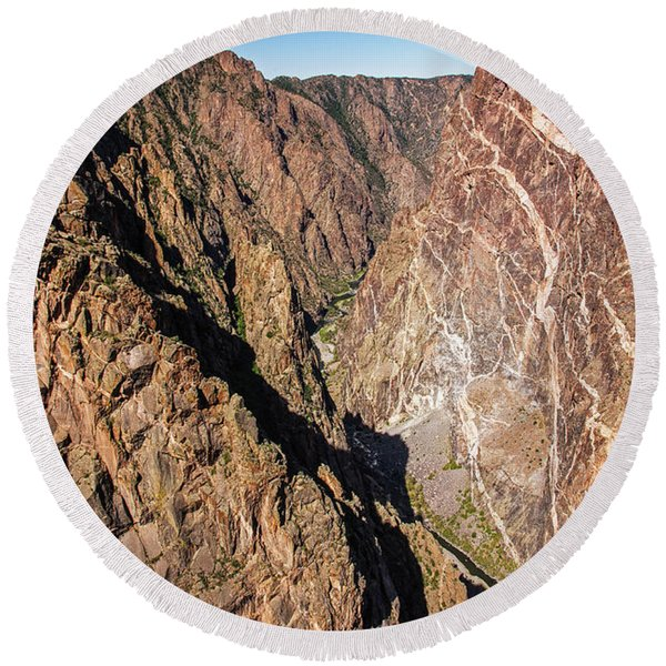 Round Beach Towel featuring the photograph Black Canyon Of The Gunnison by Lon Dittrick