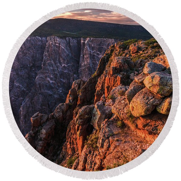 Round Beach Towel featuring the photograph Black Canyon Sunset Glow by Lon Dittrick