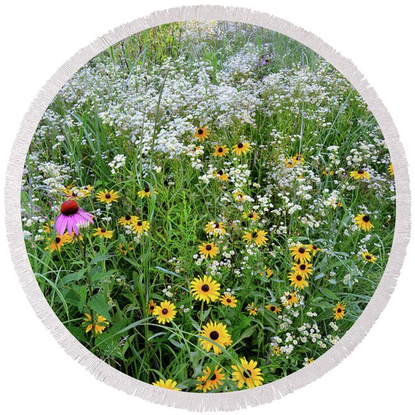 Black Eyed Susans And Company Round Beach Towel