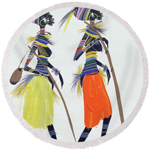 Black Models Round Beach Towel