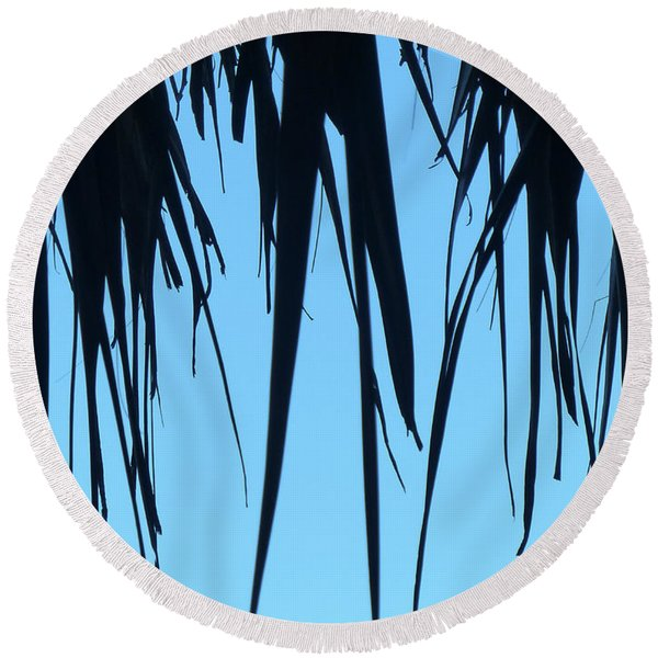 Black Palms On Blue Sky Round Beach Towel