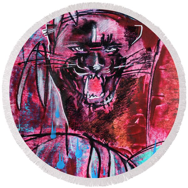 Round Beach Towel featuring the drawing Black Panther,  Original Painting by Ariadna De Raadt