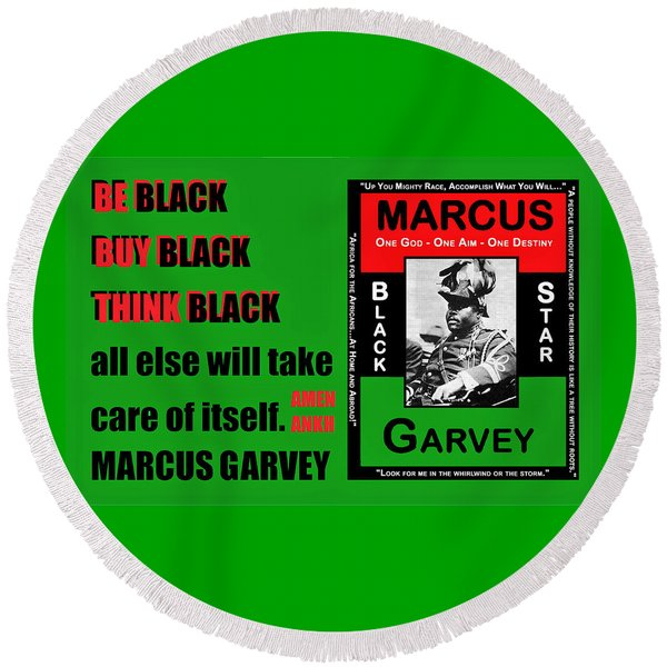 Black Star Garvey Round Beach Towel