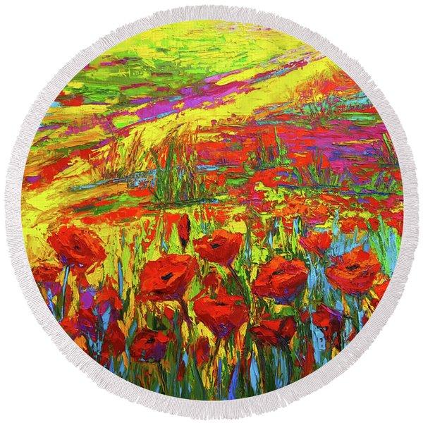 Blanket Of Joy Modern Impressionistic Oil Painting Of Poppy Flower Field Round Beach Towel