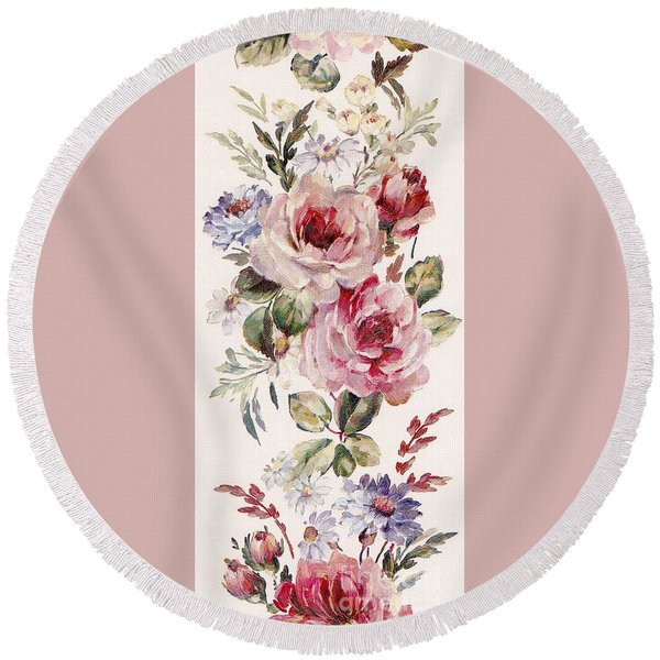 Round Beach Towel featuring the mixed media Blossom Series No. 1 by Writermore Arts