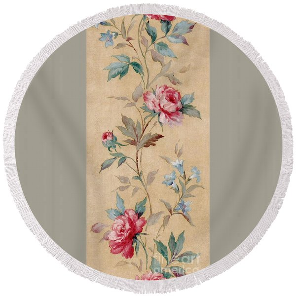 Round Beach Towel featuring the mixed media Blossom Series No.4 by Writermore Arts