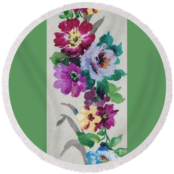 Round Beach Towel featuring the mixed media Blossom Series No.6 by Writermore Arts