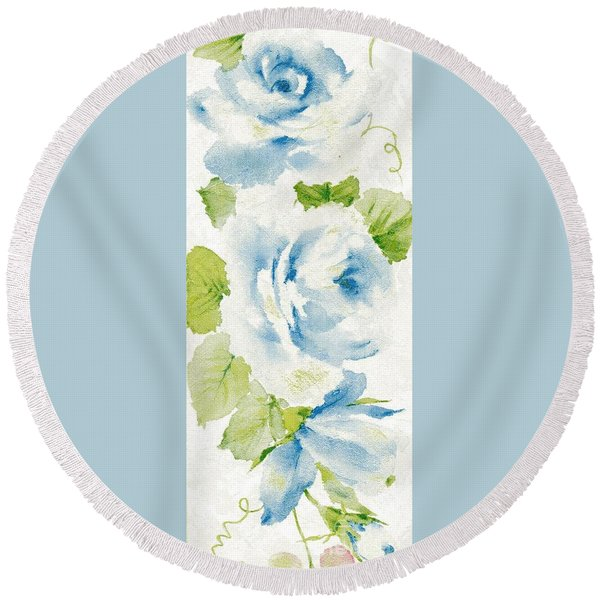 Round Beach Towel featuring the mixed media Blossom Series No.7 by Writermore Arts