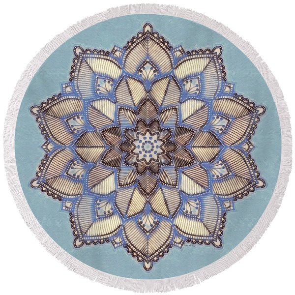 Blue And White Mandala Round Beach Towel