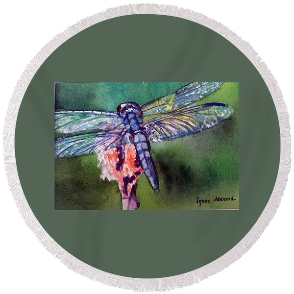 Blue And Green Dragonfly Round Beach Towel