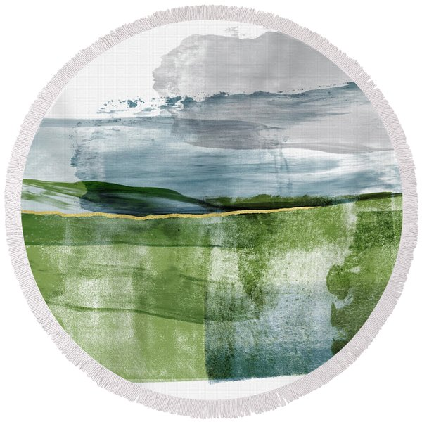 Blue And Green Minimalist Landscape Art By Linda Woods Round Beach Towel