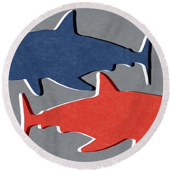 Blue And Red Sharks Round Beach Towel