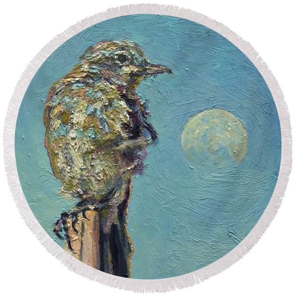 Blue Bird Moon Round Beach Towel