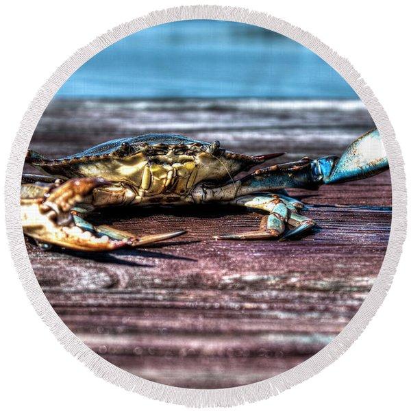 Blue Crab - Big Claws Round Beach Towel