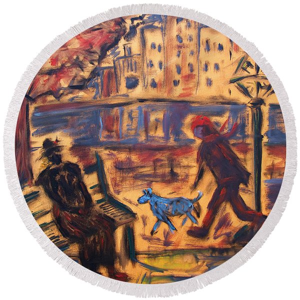 Blue Dog In The City Round Beach Towel