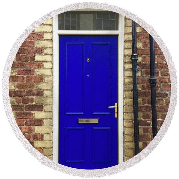 Blue Door Number 3 Round Beach Towel