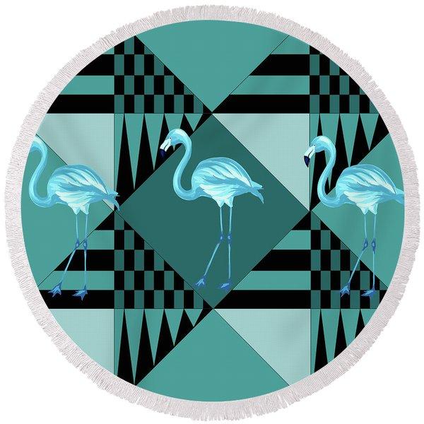 Blue Flamingo Round Beach Towel