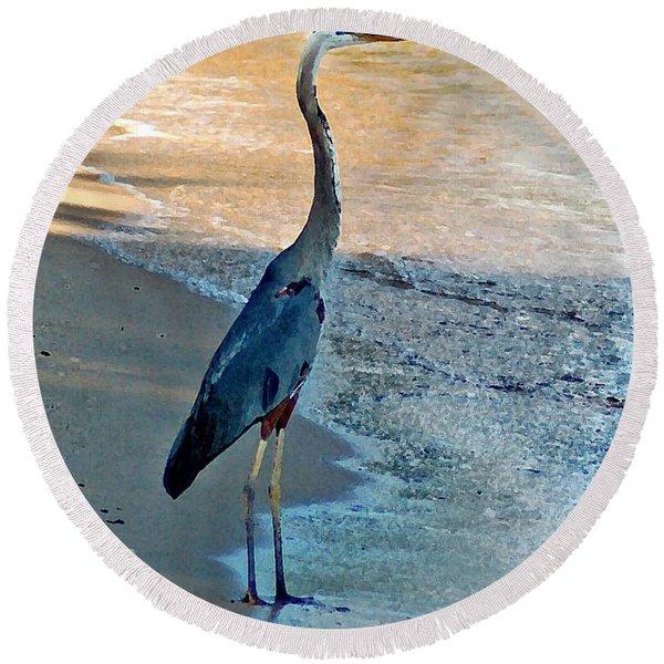 Blue Heron On The Beach Close Up Round Beach Towel