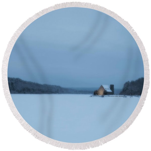 Blue Hour At The Old Stone Church Round Beach Towel