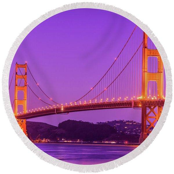 Golden Gate Bridge In The Blue Hour Round Beach Towel