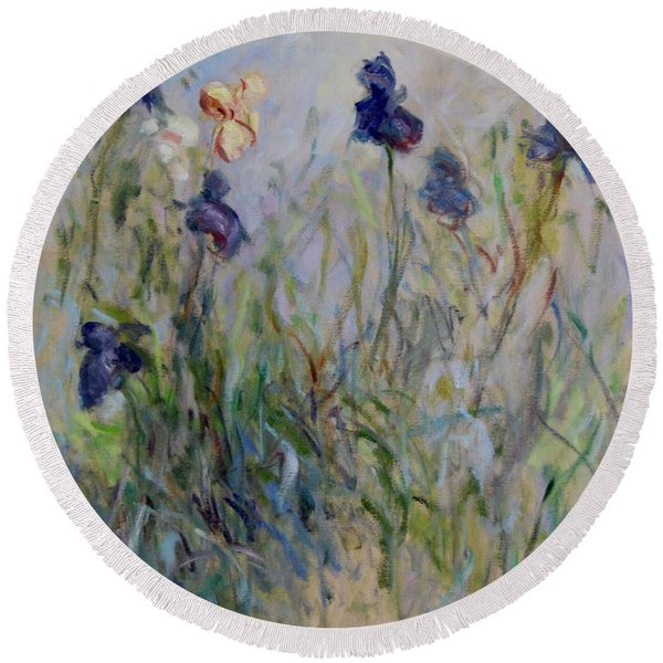 Blue Irises In The Field, Painted In The Open Air  Round Beach Towel