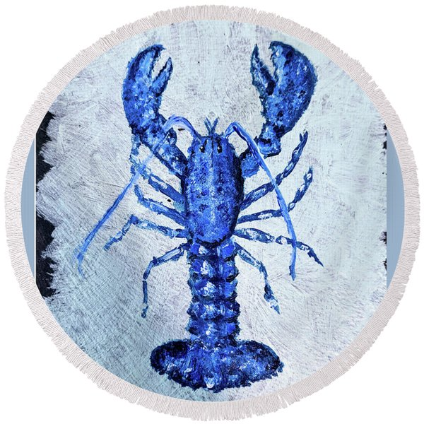 Blue Lobster 1 Round Beach Towel