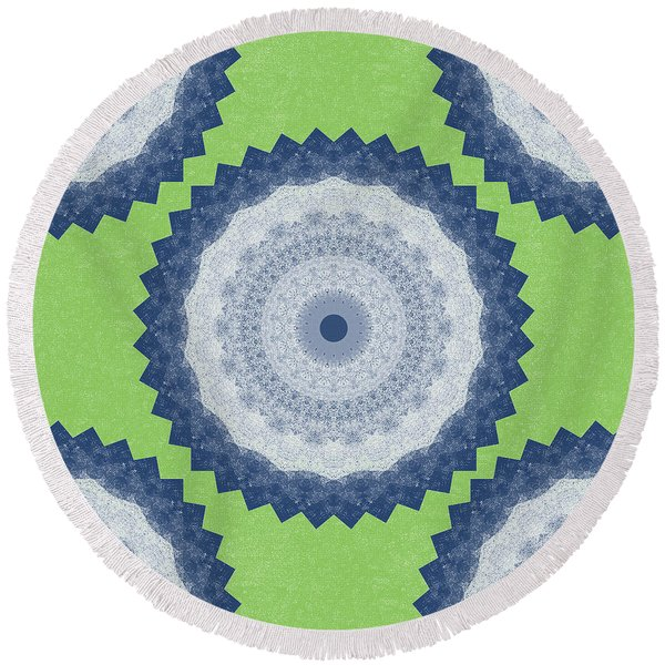 Blue Mandala- Art By Linda Woods Round Beach Towel