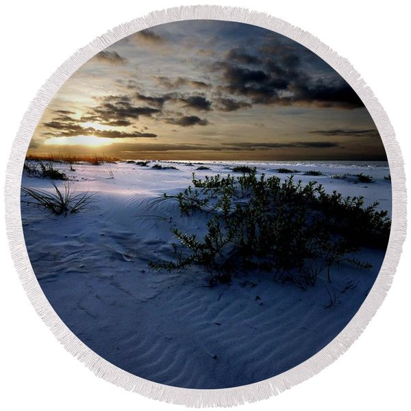 Blue Morning Round Beach Towel