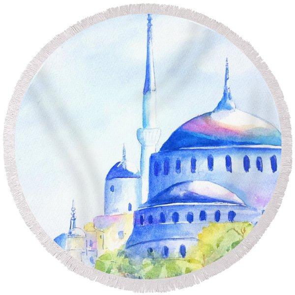 Blue Mosque Istanbul Turkey Round Beach Towel