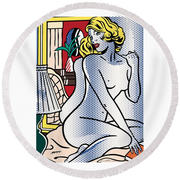 Blue Nude - Pop Art  Round Beach Towel