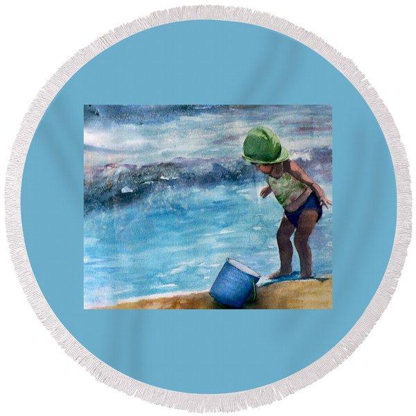 Blue Pail Round Beach Towel